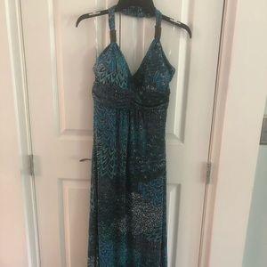 Very pretty summer dress. Blues & purpled. M.